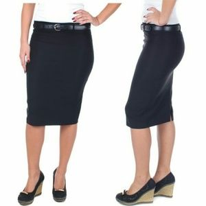 Women Pencil Skirt with Belt, D-3018, Black